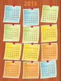 Calendario 2015 en notas Fotos de archivo libres de regalías