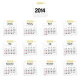 calendario 2014 en recordatorios Imágenes de archivo libres de regalías