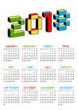 calendario 2018 en un fondo blanco en el estilo de viejos videojuegos de 8 bits La semana empieza de domingo 3D colorido vibrante Foto de archivo