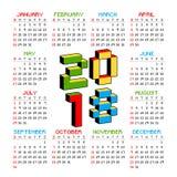 calendario 2018 en un fondo blanco en el estilo de viejos videojuegos de 8 bits La semana empieza de domingo 3D colorido vibrante Fotos de archivo libres de regalías