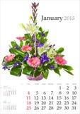 Calendario 2015 enero Imagen de archivo libre de regalías
