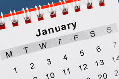 Calendario enero Imagen de archivo libre de regalías