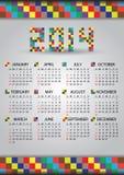 calendario eps10 del mattone di 2014 pareti Royalty Illustrazione gratis