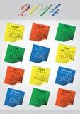 calendario eps10 di Post-it di 2014 pareti Illustrazione Vettoriale