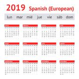 Calendario España 2019 Calendario español europeo imágenes de archivo libres de regalías