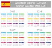 Calendario español 2013-2016 del tipo 1 Lunes-Sun Fotografía de archivo