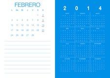 Calendario español 2014 Fotos de archivo libres de regalías