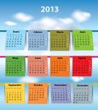 Calendario español colorido para 2013 Fotografía de archivo