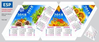 Calendario español 2018 de la plantilla por la pirámide de las estaciones formada ilustración del vector