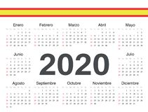 Calendario español 2020 del círculo del vector libre illustration