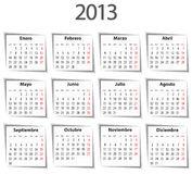Calendario español para 2013 con las sombras Foto de archivo libre de regalías