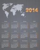 Calendario español para 2014 con el mapa del mundo en el lino  Fotos de archivo