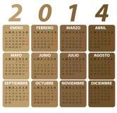 Calendario español para 2014, estilo clásico. imagenes de archivo