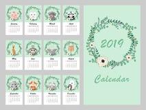Calendario 2019 Eucalipto del vector y guirnalda de la flor Ejemplo exhausto del vector de la mano con los animales lindos en flo libre illustration