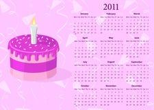 Calendario europeo 2011 del vector con la torta Imagen de archivo libre de regalías