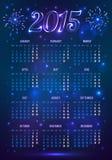 Calendario europeo azul marino de 2015 años en magia Imagenes de archivo