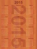 Calendario europeo 2015 en la madera Imágenes de archivo libres de regalías