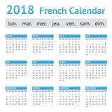 Calendario europeo francés 2018 Fotos de archivo