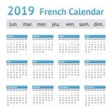 Calendario europeo francés 2019 foto de archivo