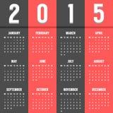 Calendario europeo negro y rojo de 2015 años Foto de archivo libre de regalías