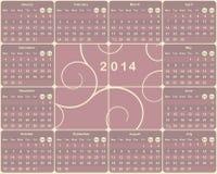 Calendario europeo per 2014 anni. Illustrazione Vettoriale