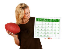 Calendario 2015: Excitado para el fútbol de la caída Fotos de archivo libres de regalías