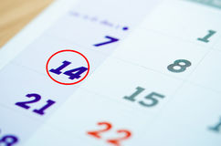 Calendario 14 febbraio Immagine Stock