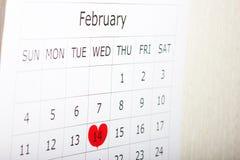 Calendario festa giorno del ` s del biglietto di S. Valentino del 14 febbraio Fotografia Stock