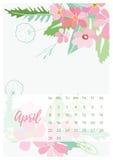 Calendario floral 2018 del vintage Imágenes de archivo libres de regalías