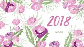 Calendario floral 2018 del vintage Fotografía de archivo libre de regalías