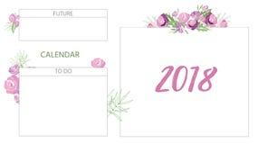 Calendario floral 2018 del vintage Fotografía de archivo