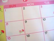 Calendario floral rosado fotos de archivo