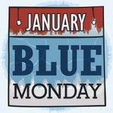 Calendario a fogli mobili raffreddato per Blue Monday, illustrazione di vettore royalty illustrazione gratis