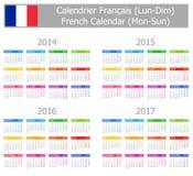 Calendario francés 2014-2017 del tipo 1 Lunes-Sun Fotografía de archivo libre de regalías