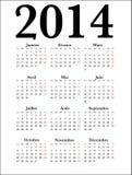 Calendario francés 2014 fotografía de archivo libre de regalías