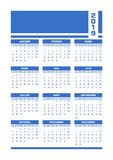 Calendario francese 2019 blu illustrazione di stock