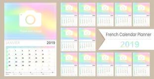 Calendario francese 2019 di pianificazione illustrazione vettoriale