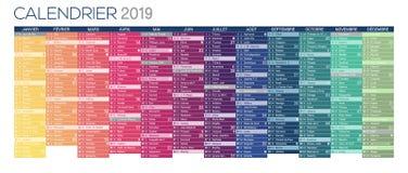Calendario francese variopinto 2019 royalty illustrazione gratis