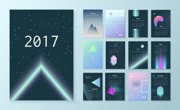 Calendario futurista de la plantilla para 2017 ilustración del vector