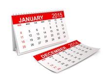 Calendario 2015 gennaio Fotografia Stock Libera da Diritti