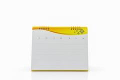 Calendario giallo di spirale dello scrittorio della carta in bianco Fotografia Stock Libera da Diritti
