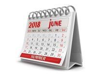 Calendario - giugno 2018 illustrazione di stock