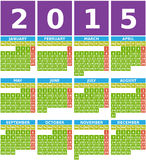 Calendario grande 2015 en diseño plano con los iconos cuadrados simples Foto de archivo libre de regalías