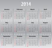 Calendario gris claro para 2014 Fotografía de archivo libre de regalías