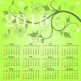 Calendario hermoso para 2016 Fotos de archivo libres de regalías