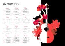 Calendario hermoso por 2020 años Comienzo de la semana el domingo Plantilla del vector con flamenco de baile de la muchacha en ve stock de ilustración