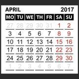 Calendario hoja abril de 2017 Imagenes de archivo