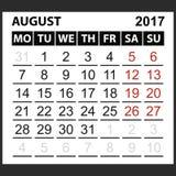 Calendario hoja agosto de 2017 Fotos de archivo