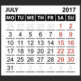 Calendario hoja julio de 2017 Fotos de archivo