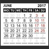 Calendario hoja junio de 2017 Fotografía de archivo